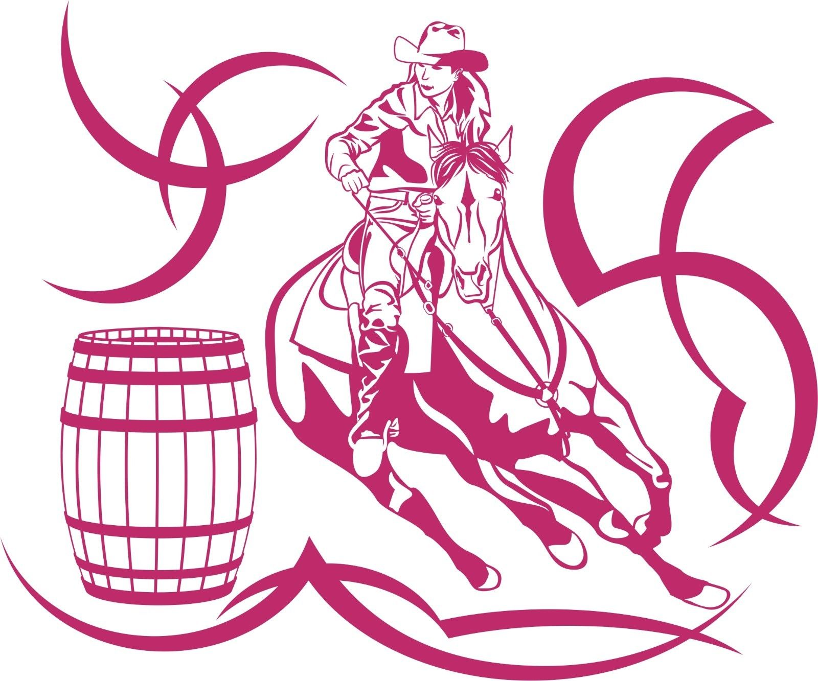 "Cowgirl Barrel Racer Horse Rodeo Tribal Window Laptop Vinyl Decal Sticker - 12"" Long Edge"