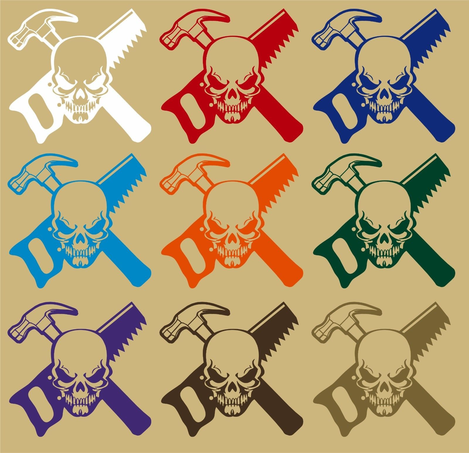 "Carpenter Skull Construction Worker Builder Car Truck Window Vinyl Decal Sticker - 9"" Long Edge"