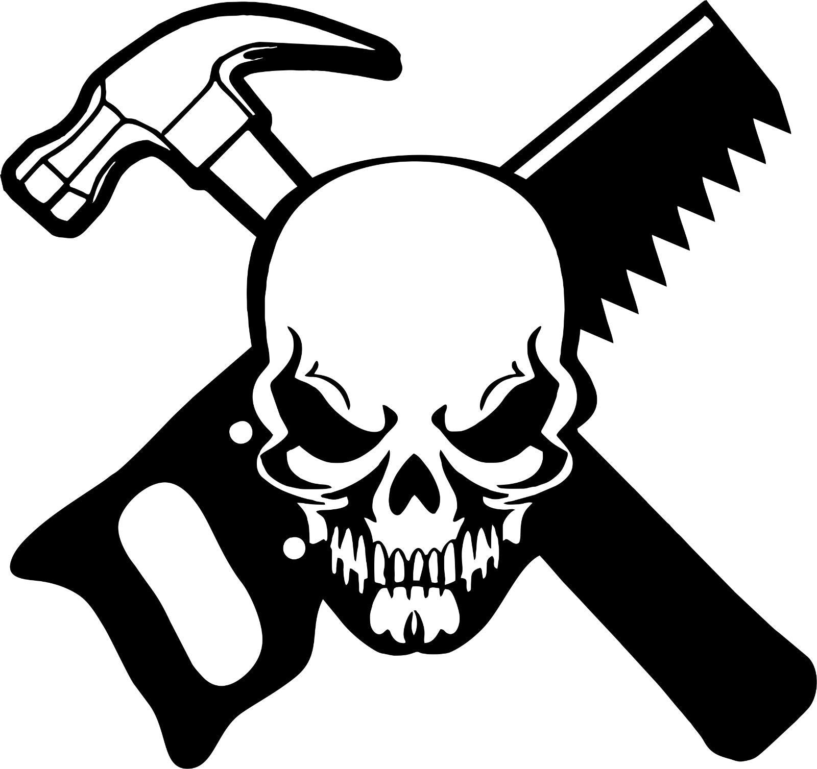 "Carpenter Skull Construction Worker Builder Car Truck Window Vinyl Decal Sticker - 7"" Long Edge"