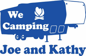 "Camping 5th Wheel Camper Travel Trailer Custom Name Large Vinyl Decal Sticker - 20"" wide"