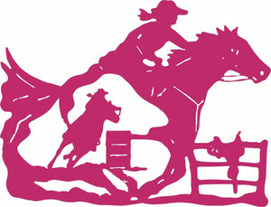 "Cowgirl Barrel Racer Horse Saddle Rodeo Racing Window Vinyl Decal Sticker - 20""  Long Edge"