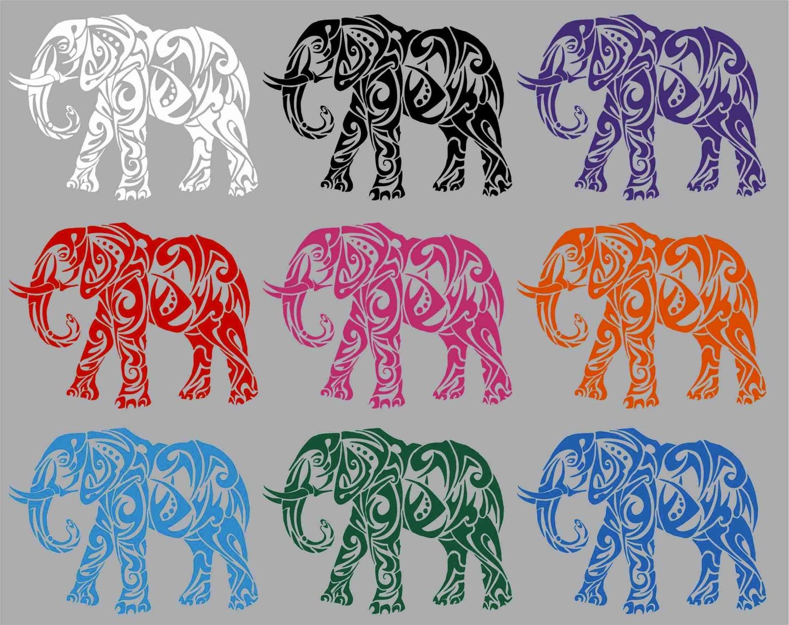 "Elephant African Zoo Animal Tribal Truck Window Vinyl Decal Sticker - 14"" Long Edge"