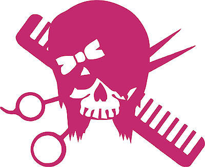 Hair Skull Girl Stylist Beauty Salon Car Truck Window Wall Vinyl Decal Sticker - 6""