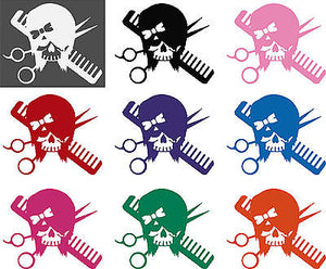 Hair Skull Girl Stylist Beauty Salon Car Truck Window Wall Vinyl Decal Sticker - 10""