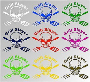 BBQ Grill Cooking Skull Custom Text Car Truck Window Laptop Vinyl Decal Sticker - 9""