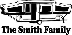 Custom Camping Pop Up Camper Tag Along Travel Trailer Window Vinyl Decal Sticker - 9""