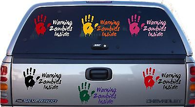 Zombies Warning Monster Walking Dead Car Truck Wall Laptop Vinyl Decal Sticker, Hand Color - Green