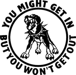 Attack Dog Rottweiler Pitbull Car Truck Window Laptop Vinyl Decal Sticker - 11""