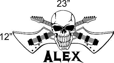 Rock Guitar Skull Musician Teen Boys Room Wall Art Home Decor Mural Vinyl Decal