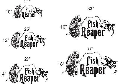 "Grim Reaper Skeleton Fish Fishing Car Boat Truck Window Vinyl Decal Sticker - 33.5"" x 16"