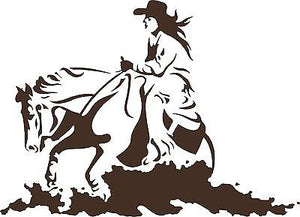 Cowgirl Horse Rodeo Western Cowboy Car Truck Window Laptop Vinyl Decal Sticker - 9""