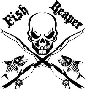 "Fish Reaper Skull Fishing Rod Car Boat Truck Window Vinyl Decal Graphic Sticker - 19"" x 19"""