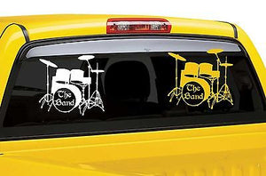 "Drums Music Rock Band Drummer Musician Car Truck Window  Vinyl Decal Sticker - 16"" x 15"
