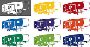 Camping 5th Wheel Camper Car Truck Window Wall Laptop Vinyl Decal Sticker - 5""