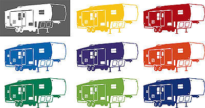 Camping 5th Wheel Camper Car Truck Window Wall Laptop Vinyl Decal Sticker - 6""