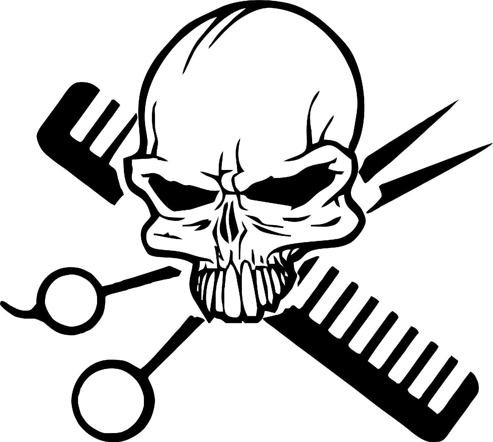 Hair Skull Stylist Beauty Parlor Salon Car Truck Window Wall Vinyl Decal Sticker - 9""