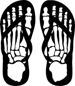 Flip Flops Skeleton Skull Feet Car Truck Window Wall Laptop Vinyl Decal Sticker - 9""