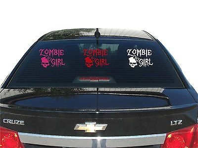 Zombie Girl Skull Walking Dead Car Truck Window Laptop Vinyl Decal Sticker - 8""