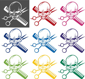 Hair Skull Stylist Beauty Parlor Salon Car Truck Window Wall Vinyl Decal Sticker - 7""