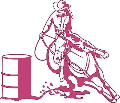 Barrel Racing Girl Rodeo Horse Farm Car Truck Window Laptop Vinyl Decal Sticker - 11""