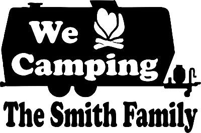 "Large Camping RV Camper Custom Name Travel Trailer Window Vinyl Decal Sticker - 14"" wide"