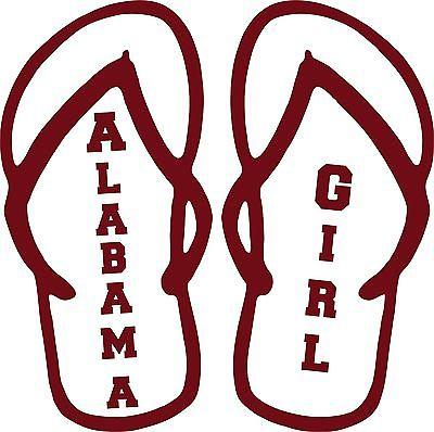 Alabama Girl Flip Flops Sport Football Car Truck Wall Laptop Vinyl Decal Sticker - 12""