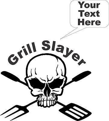 BBQ Grill Cooking Skull Custom Text Car Truck Window Laptop Vinyl Decal Sticker - 12""