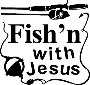 Fishing With Jesus Christ Christian Car Truck Window Laptop Vinyl Decal Sticker - 9""