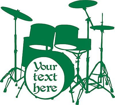 "Drums Music Rock Band Drummer Musician Car Truck Window  Vinyl Decal Sticker - 14"" x 13"