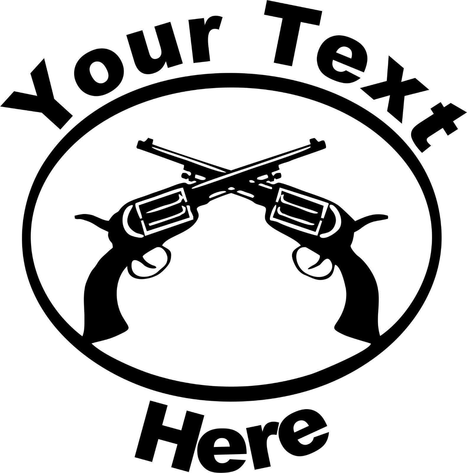 "Custom Text Gun Name Rodeo Western Car Truck Window Laptop Vinyl Decal Sticker - 12"" x 12"""