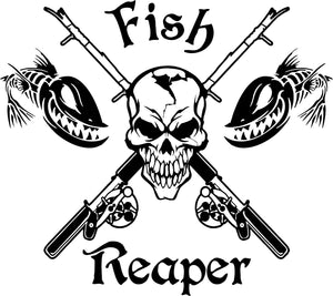 "Fish Reaper Skull Fishing Rod Reel Car Boat Truck Window Vinyl Decal Sticker - 10"" x 8.8"""