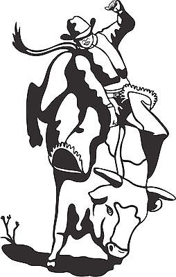 Cowboy Bull Riding Rodeo Horse Car Truck Window Wall Laptop Vinyl Decal Sticker - 5""