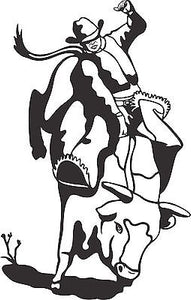 Cowboy Bull Riding Rodeo Horse Car Truck Window Wall Laptop Vinyl Decal Sticker - 10""