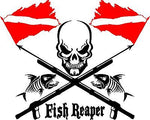 Fish Reaper Skull Diver Flag Speargun Car Boat Truck Window Vinyl Decal Sticker