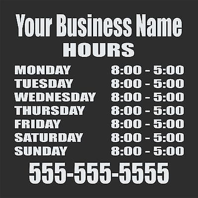 Custom Store Front Business Hours Sign Car Truck Window Wall Vinyl Decal Sticker