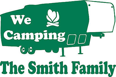 Custom Name Camping 5th Wheel Camper Travel Trailer Window Vinyl Decal Sticker - 7""