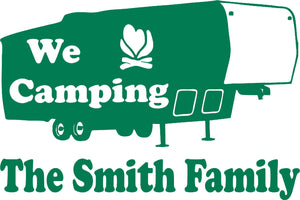 "Camping 5th Wheel Camper Travel Trailer Custom Name Large Vinyl Decal Sticker - 14"" wide"