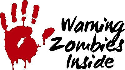 Zombies Warning Monster Walking Dead Car Truck Wall Laptop Vinyl Decal Sticker, Hand Color - Silver Gray Metallic
