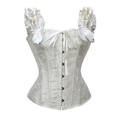 Victorian Classic Decent princess Embroidery Overbust Corset With Pleated Sleeves