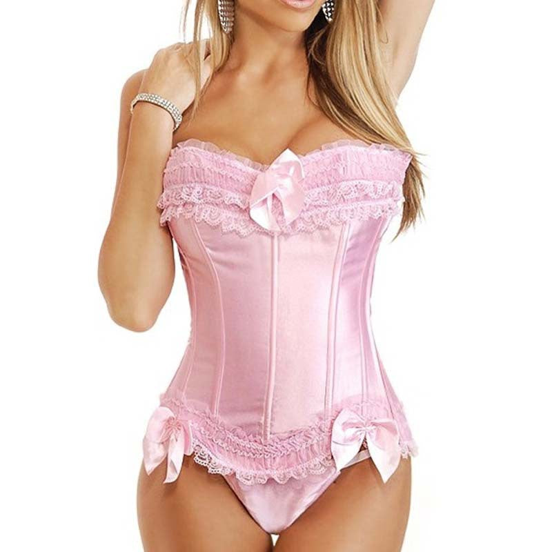 Pink Overbust Corset with Bowknot