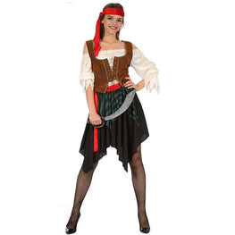 Women Red Headscarf Pirate Costume Carnival Costume