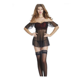 Women Sexy Sheer Lace Babydoll Strapless Sleepwear 5004