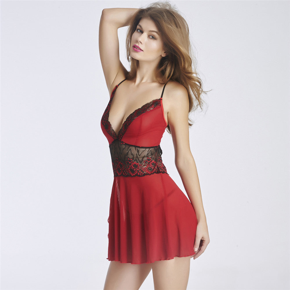 Red Mesh Babydoll Lace Joint Waist 5053