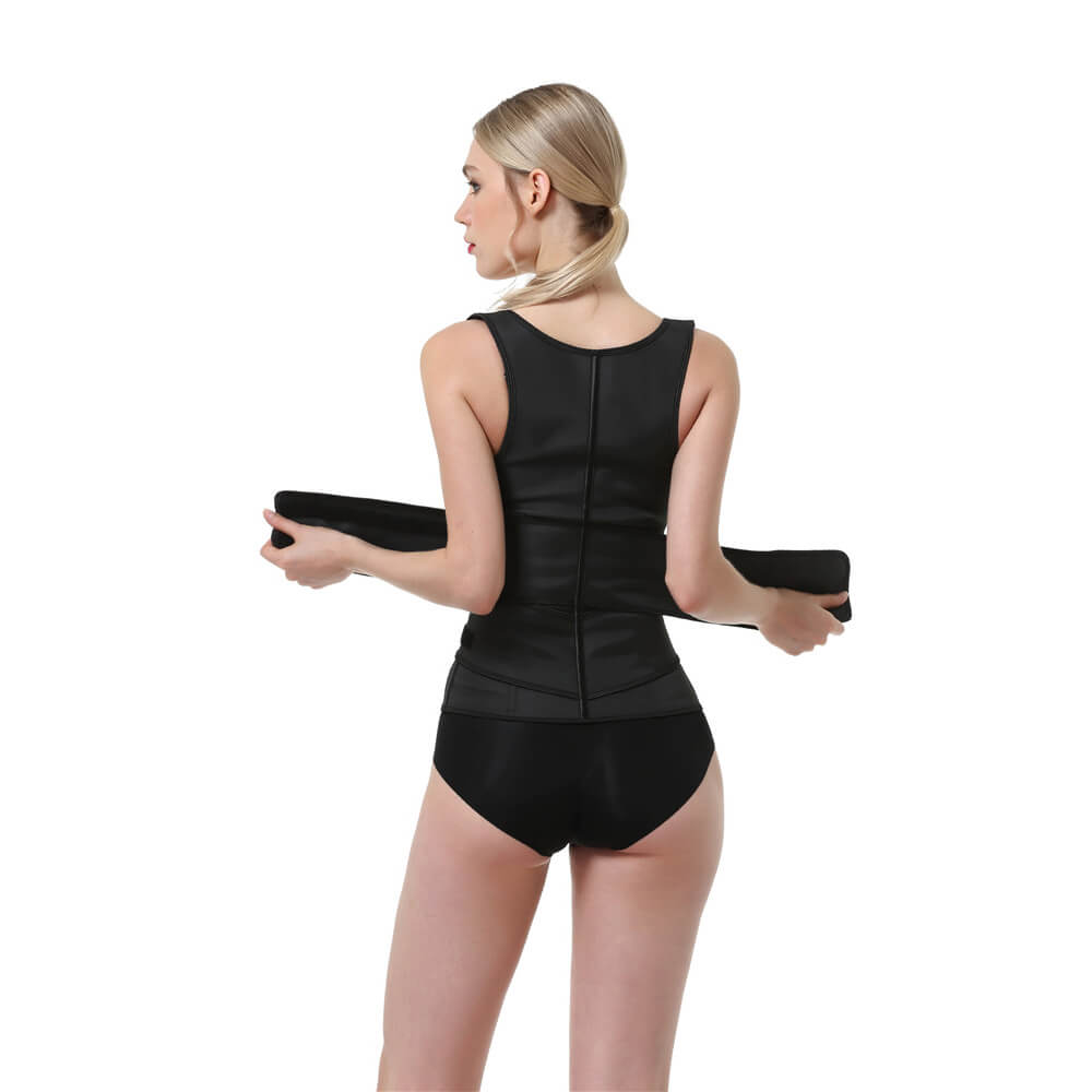 Body Shaper Latex Workout Zipper Waist Trainer Corset Vest
