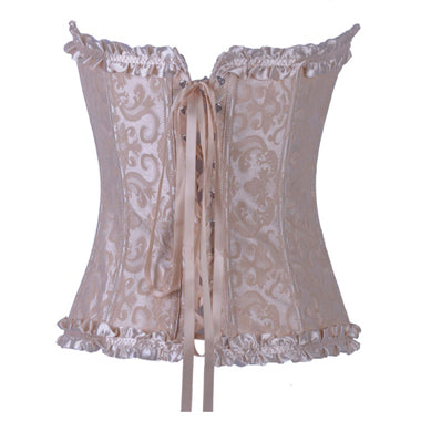 Women's Satin Floral Lace Up Corset
