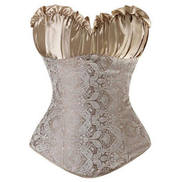 Classic Brocade Overbust Side Zipper Closure Corset