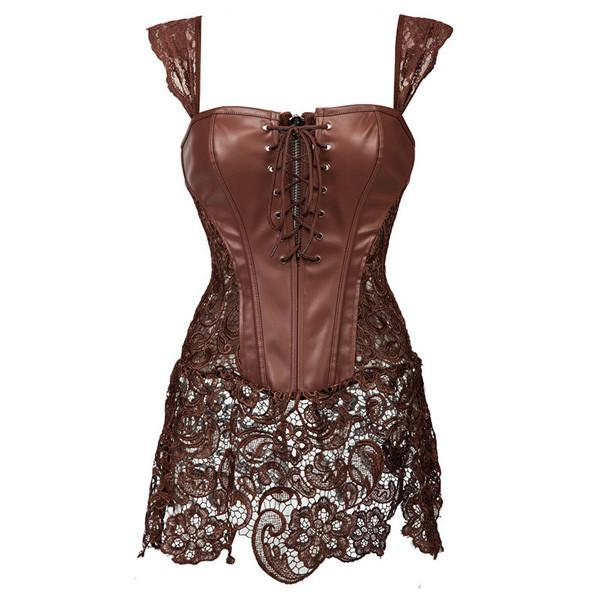 Faux Leather Strap Zipper Back Corset Lace Skirt
