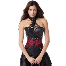Halter Straps Steampunk Outfits Gothic Overbust Corset Attached Neck Gear