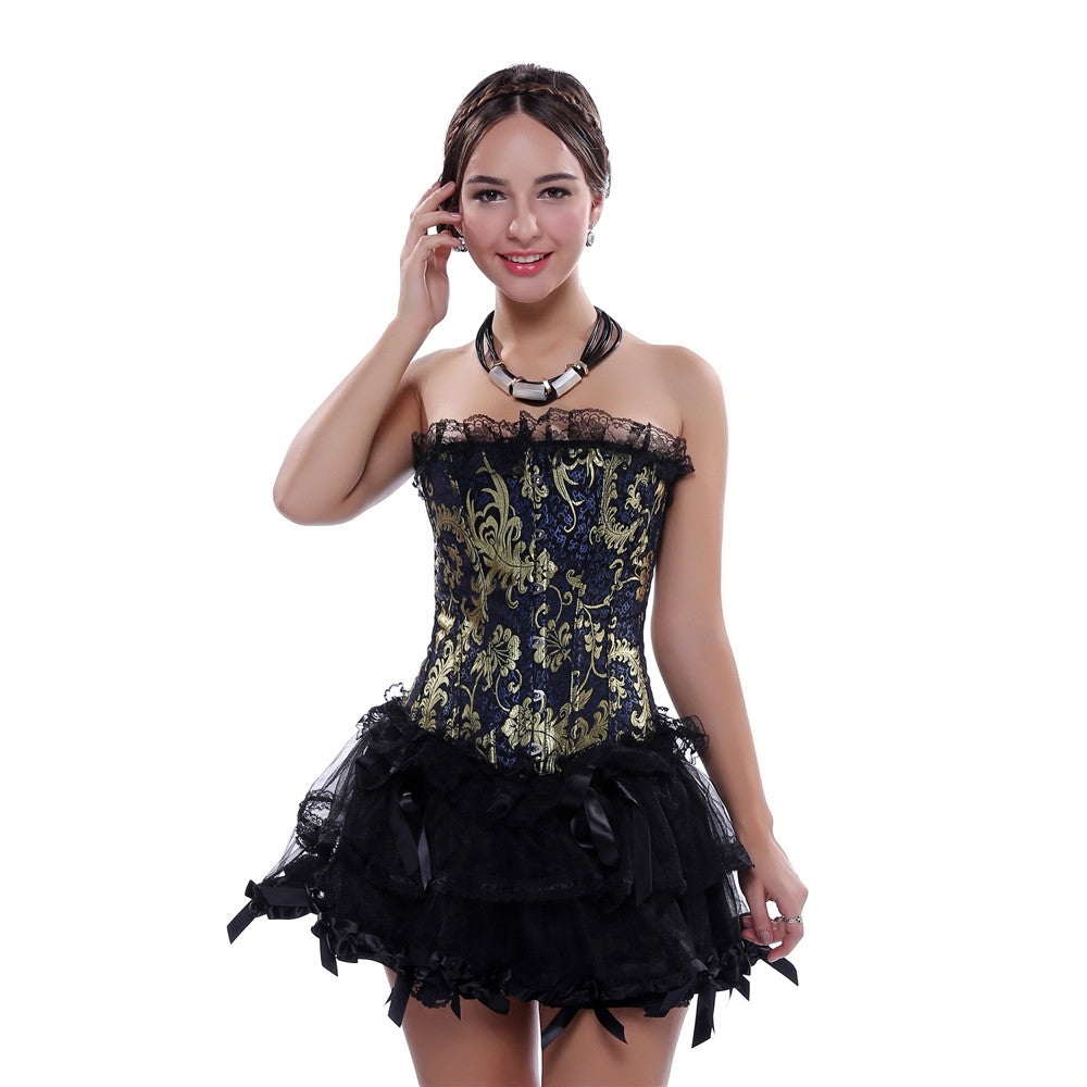 Lace Overlay Vintage Gold Print Brocade Fullbust Corset