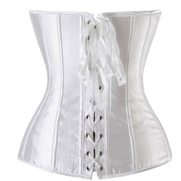 Ladies Classic Burlesque Satin Hourglass Strapless Overbust Corset
